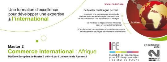 L'Université de Rennes 2, partenaire privilégié, assure la co-diplômation de la formation. Elle a créé dès 2001, un Master Commerce International orienté vers une zone géographique spécifique et est actuellement habilitée pour un Master de Commerce international décliné en quatre zones géographiques distinctes.