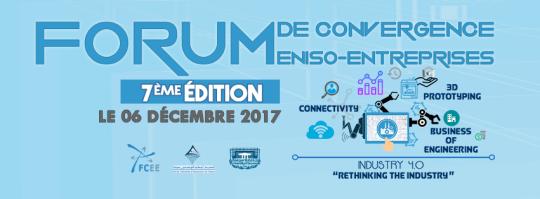 Forum de Convergence ENISo-Entreprises, 7ème édition C'est depuis 2012 que l'École Nationale d'Ingénieurs de Sousse ne cesse de valoriser les relations enrichissantes chez la communauté scientifique et industrielle. Cette année, l'ENISo organise, dans sa 7ème édition, le Forum de Convergence ENISo-Entreprises et ce le 6 décembre 2017 sous le thème del'Industry 4.0. Le thème, fortement lié aux dernières technologies de notre ère telle l'Internet des Objets (IoT), propose la numérisation de la fabrication et des opérationsindustrielles. Lors de cet annuel colloque, l'ENISo a l'honneur d'accueillir l'ambassadeur de l'Allemagne en Tunisie M. Andreas REINICKE, l'ambassadeur de la Turquie en Tunisie M. Ömer Faruk DOGAN, le ministrede l'Enseignement Supérieur et de la Recherche Scientifique M. Slim KHALBOUS, le ministre de l'Industrie et des PME M. Slim FERIANI,le directeur de la rénovation universitaire M. Zoubeir TURKI, et conseillère auprès du ministre de l'enseignement supérieur et de la recherche scientifique chargée du dossier de l'employabilité Mme. Amira GUARMAZI, ainsi que des experts internationaux et nationaux à l'égard deM. Didier BONNE, responsable FESTODidacticFrance, M. Eric VANEL, Ingénieur Expert Intérieur Voiture chez FAURECIA,M. Eric TRUFFET, expert architecture de référence pour l'industrie 4.0 et M. Yannick KNAPP, chef de département à l'Institut Universitaire de Technologie d'Avignon en France. Le FCEE dans sa dernière année a reçu plus que 1350 visiteurs, étudiants, professeurs, industriels et entrepreneurs réussissant ainsi à développer l'échange scientifique et entrepreneurial entre eux. Ce grand événement est la visée de tout le mondeque ce soit pour les diplômés ou chercheurs de stages pour passer des entretiens lors de l'Espace Carrière, que ce soit pour les entreprises distribuant leurs catalogueslors de leurs stands, que ce soit pour les entrepreneurs pour découvrir les projets innovants et les startups nées à l'ENISo à l'Espace Professionnel,